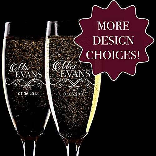 Personalized Pair of Champagne - Glasses Personalized Wedding