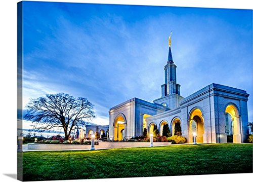 Scott Jarvie Gallery-Wrapped Canvas entitled Sacramento California Temple, Corner View, Rancho Cordova, California by greatBIGcanvas