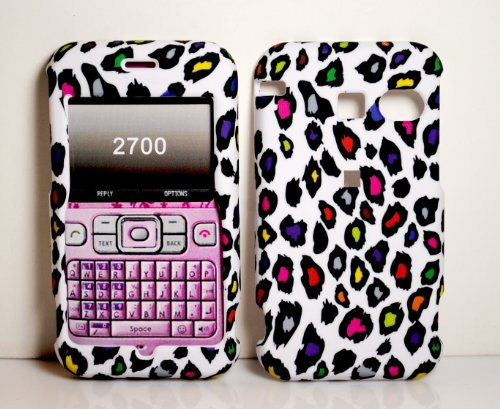 Rainbow Leopard Rubberized Skin Shell Protector Cover Case for Sanyo SCP-2700 Juno + Microfiber Pouch Bag