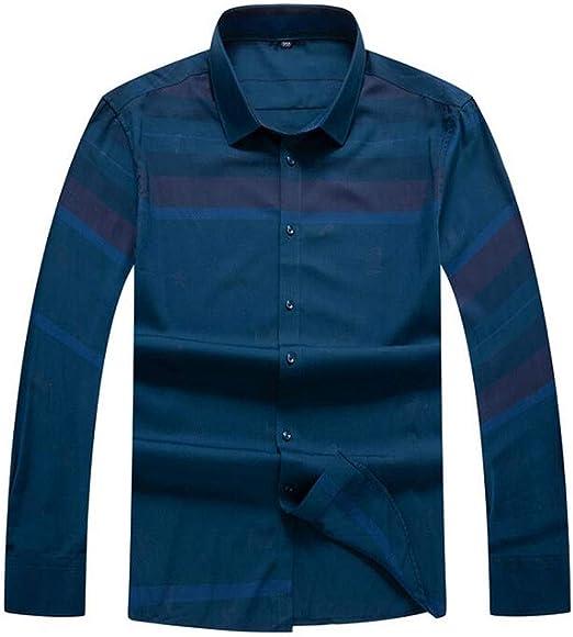 ZJEXJJ Camisa de Negocios para Hombre Camiseta Holgada de Gran tamaño Cómoda Chaqueta a Rayas Top