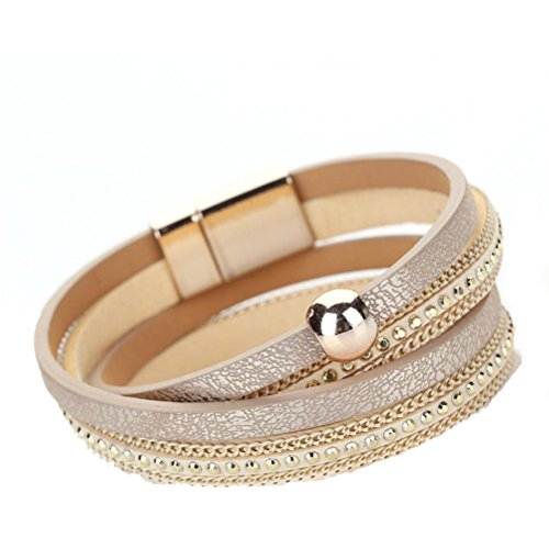 Willsa Women Fashion Bohemian Woven Braided Handmade Magnetic Clasp Bracelet (Gold)