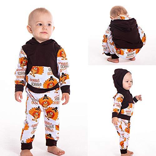 (Suma-ma Kid Boy Girl Thanksgiving Turkey Hooed Shirt woth Pocket+Long Pant Set)