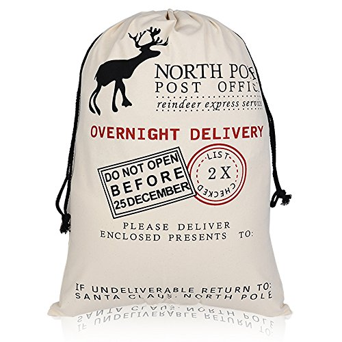 """2 Pack Christmas Santa Gift Sack Reindeer/ Rudolph Canvas Personalized Bag with drawstring Large Size 28""""x20"""""""