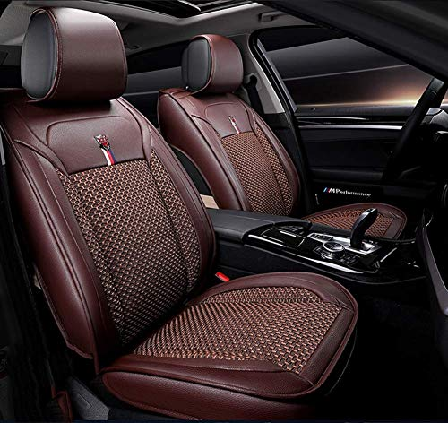 (ZHANGTAOLF New All-Inclusive Leather ice Silk car mat car seat Cushion Breathable car Four Seasons Universal seat Cover,Brown)