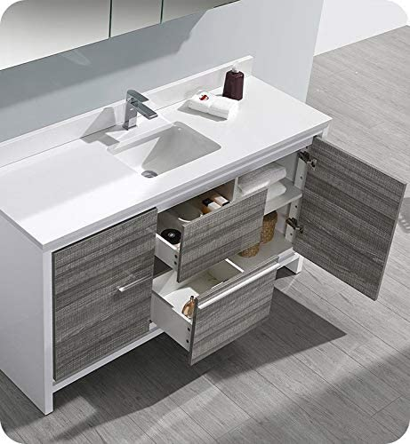 Fresca Allier Rio 60″ Ash Gray Single Sink Modern Bathroom Vanity w/Top Sink