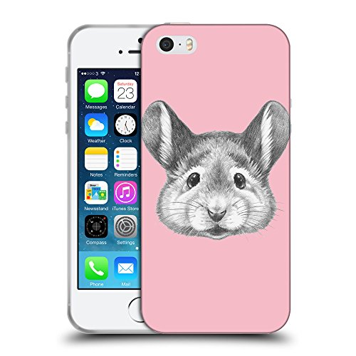 GoGoMobile Coque de Protection TPU Silicone Case pour // Q05410630 Souris portrait Rose // Apple iPhone 5 5S 5G SE