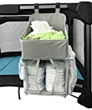 Pack N Play Bassinet Attachment Playard Nursery & Diaper Hanging Organizer - for Graco Pack 'n Play - Light Gray