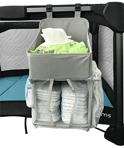 Playard Nursery & Diaper Hanging Organizer - for Graco Pack 'n Play - Light Gray