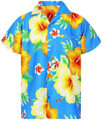 Funky Hawaiian Shirt, Shortsleeve, Paradise Flower, Blue, L