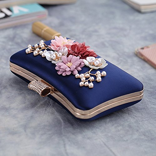 Sequin Floral Clutch Clutch Women Antique Purse Bag Color Handbag Evening Collection Soft Pink Blue Designer Bead Seed Large qEwScXHw