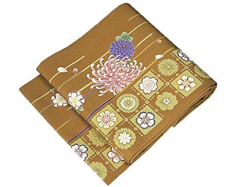 準拠近所のオーバードローきもの翔鶴 染め名古屋帯 正絹 縦縞格子菊模様