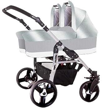 Carro gemelar 3 piezas. Capazos+sillas+grupo 0+accesorios. Polipiel plateado. BBtwin: Amazon.es: Bebé
