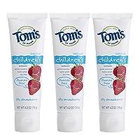 Pasta de dientes para niños sin flúor natural Tom's of Maine, fresa tonta, 4.2 onzas, 3 unidades