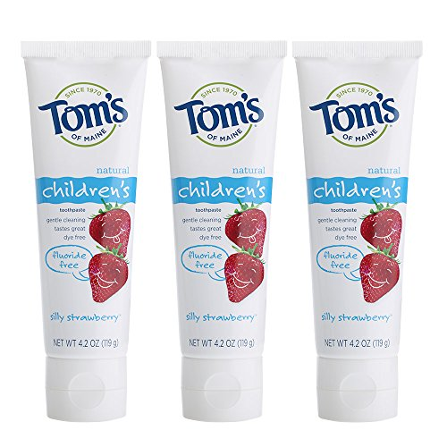 (Tom's of Maine Natural Fluoride Free Children's Toothpaste, Silly Strawberry, 4.2 Ounce, 3 Count)