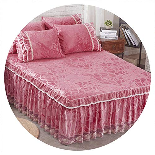European Style Thickening Plush Quilted Bed Skirt Graceful Printed Wedding Mattress Cover Home Textile Twin Full Bed Skirts Gift,4,150x200CM]()