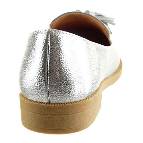 Angkorly - Women's Fashion Shoes Mocassins - slip-on - grained - fringe Block Heel 2 CM Silver j1zGlyrQ
