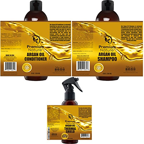 Argan Oil Hair Treatment Gift Set - 3 Value Pack: Morrocan Argan Oil Shampoo 8oz Conditioner 8 oz & Hair Heat Protectant Spray 4oz Sulfate Free Natural Damaged Hair Growth Repair Deep Conditioning