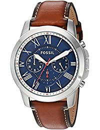 Men's Grant Quartz Stainless Steel and Leather Chronograph Watch, Color: Silver-Tone, Brown (Model: FS5210)