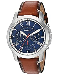 Fossil Men's Quartz Stainless Steel and Leather Automatic Watch, Color:Brown (Model: FS5210)