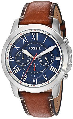 Fossil Men's Grant Quartz Stainless Steel and Leather Chronograph Watch, Color: Silver, Brown (Model: FS5210IE) - Fossil Mens Brown Leather