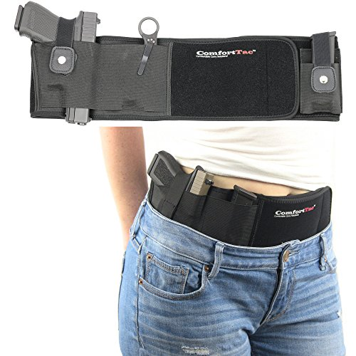 Ultimate Belly Band Holster for Concealed Carry | Black | Fits Gun Smith and Wesson Bodyguard, Shield, Glock 19, 42, 43, P238, Ruger LCP, and Similar Sized Guns | For Men and Women | Right Hand Draw ()