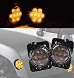jku fender flare - opar LED Side Maker Lights for 2007-2018 Wrangler JK,Amber Front Fender Flares Parking Turn Lamp Bulb Indicator Clear Lens