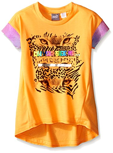 PUMA Little Girls' Active Kitty Top, Orange Pop, 6 Kitty Shirt Top