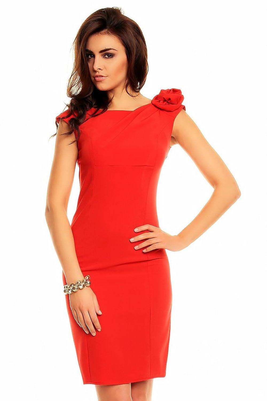 Victoriav Women's Pencil Plain Dress red red