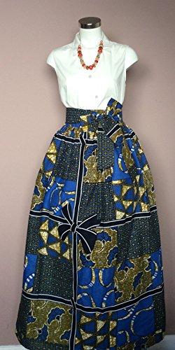 Esty Ankara African Print Long Women Skirt With Two Pockets And A Belt Size Xs S M L  Xl Xxl