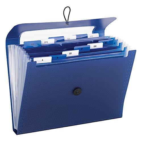 - Smead 70907 Step Index Poly Organizer, 12 Pockets, Flap and Cord Closure, Letter Size, Navy Blue, 2 per Pack