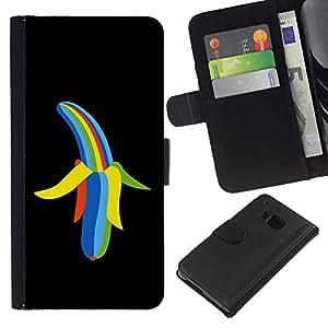 KingStore / Leather Etui en cuir / HTC One M9 / Enfriar color del arco iris del plátano