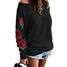 Women Ladies One Shoulder Embroidered Rose Floral Stylish T-Shirt Long Sleeve Sweatshirt Tops Blouse Hoodie (XX-Large,Black)