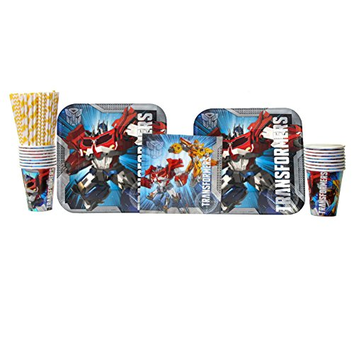 Transformers Party Supplies Pack for 16 Guests   Transformers Plates and Napkins Set   Straws, 16 Dinner Plates, 16 Luncheon Napkins, and 16 Cups   Optimus Prime and Bumblebee Birthday Party Supplies