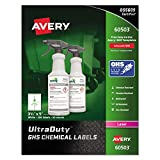 Avery UltraDuty GHS Chemical Labels for Laser Printers, Waterproof, UV Resistant, 3.5'' x 5'', 200 Pack (60503)
