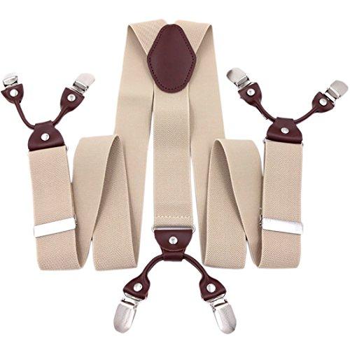 Men's Clip-On Suspenders Vintage Y-Back Heavy Duty Wedding Prom Casual Leather Pants Trousers Brace Khaki