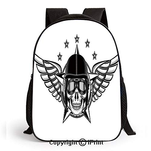 School Backpack,Skull Pilot with Eagle Wings and Stars Fast Day of the Dead Bones Print Bags Student Stylish Book Bag Daypack for Little Boys and Girls,Black -