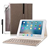 iPad Pro 9.7 Keyboard Case, BoriYuan PU Leather Tri-fold Folio Stand Smart Cover with Aluminum Detachable Backlit Wireless Bluetooth Keyboard For Apple iPad Pro 9.7inch+Screen Protector+Stylus, Brown