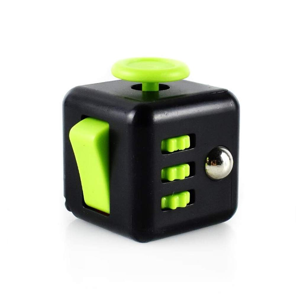 House Art Fidget Cube Educational Toy, Black and Green Anti-Stress Cube Fidget Toy Relieve Stress Reducer for Autism, ADD, ADHD, and Autism Boredom Your Finger Tips in Children and Adults