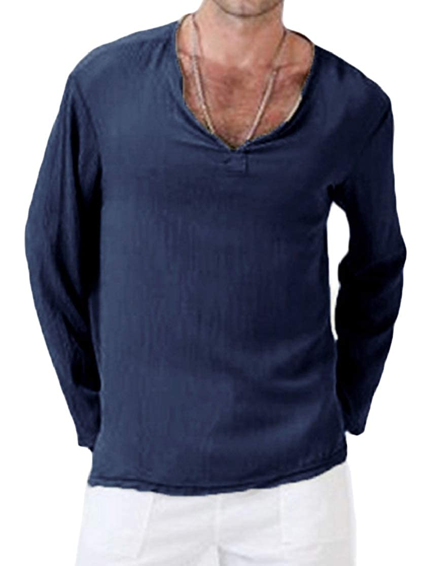 Joe Wenko Men Comfy Solid Color V Neck Long Sleeve Linen Breathable Tops T-Shirt