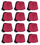Beistle 60065 12 Piece Felt Fez Hats, Red/Black