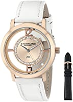 Stuhrling Original Women's 388L2.SET.03 Classic Winchester Tiara Swiss Quartz Swarovski Crystal Rose Tone Black Leather Additional Strap Watch Set