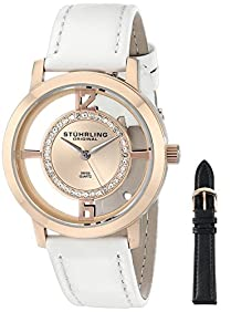 Stuhrling Original Women's 388L2.SET.03 Analog Winchester Tiara Swiss Quartz 16K Rose Gold-Plated Watch with Interchangeable Strap