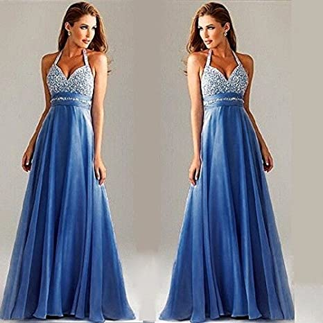 a59af51395d ilovgirl Long Formal Dress Elegant Evening Wear Women Sexy V Neck Sequins  Halter Neck Wedding Party Prom Gowns Dress at Amazon Women s Clothing store