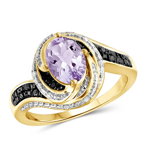 Jewelexcess 1.00 Carat T.G.W. Genuine Pink Amethyst And 1/10 CTW Black & White Diamond Ring in 14k Gold Over Silver
