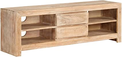 vidaxl meuble tv bois d acacia massif marron clair salon armoire tv table tv