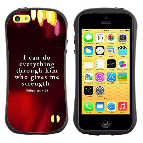 DREAMCASE Citation de Bible Silicone et Rigide Coque Protection Image Etui solide Housse T¨¦l¨¦phone Case Pour APPLE IPHONE 5C - PHILIPPIANS 4:13 I CAN DO EVERYTHING