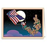 Patriotic Santa Christmas Card 18 Cards & Envelopes