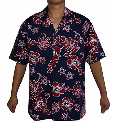 Made in Hawaii! Men's Hibiscus Flower Classic Hawaiian Shirt (XL, Navy/RED)