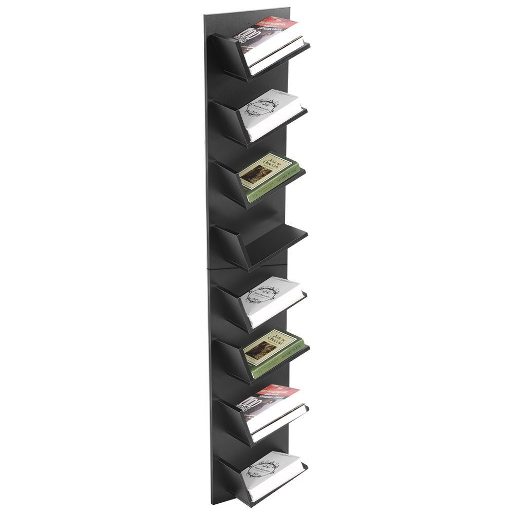 Wall Mounted Bookshelf,8-Tier CD Shelf DVD Bookshelf Display Storage Rack Organization Cabinet Display Storage Furniture for CDs, Movies & Books, Black