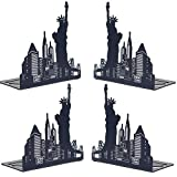 Decorative Art Bookends Black Metal Non Skid Heavy Duty Book Ends for Office,School,Home,Library and Gift,6.85 Inch 2 Pairs, Statue of Liberty by Sun Cling